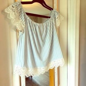 Babydoll blue and white striped top